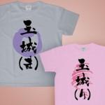 筆文字Tシャツ 半袖 カラー薄色(杢グレー、ピーチ)(1)